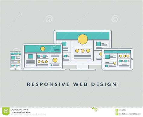 Web Design Homepage Content Responsive Web Design Mockup Template Vector Stock Vector