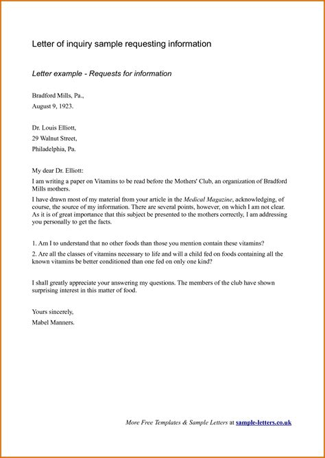 Inquiry Volunteer Letter 9 Inquiry Email Sle Lease Template