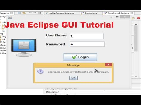 gui design tutorial java java eclipse gui tutorial 5 login program for java with