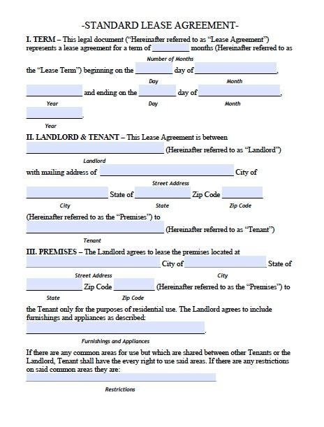 Housing Lease Template printable sle residential lease agreement template form