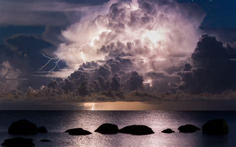 nature landscape lightning sea clouds storm night