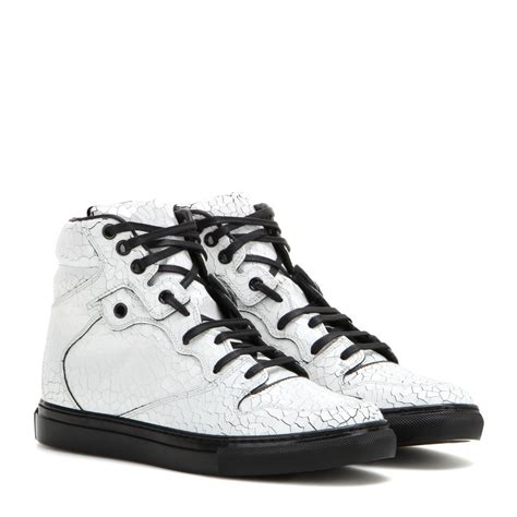 balenciaga high top sneakers lyst balenciaga leather high top sneakers in white