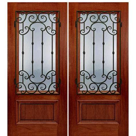 Exterior Wrought Iron Doors Mai Doors Dt 20 Mon 2 Exterior Door Mahogany Wrought Iron Grille With Flemish Glass At