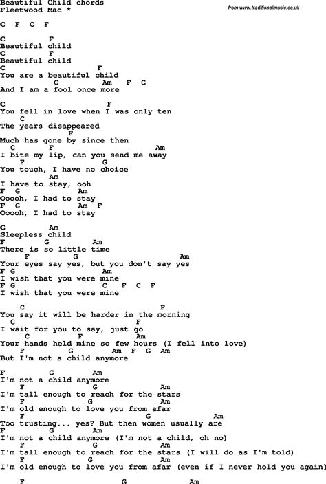 beautiful lyrics song lyrics with guitar chords for beautiful child 0