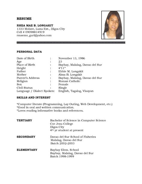 Simple Resume Template For Students by Resume Sle Simple De9e2a60f The Simple Format Of Resume For Resume