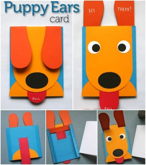 Puppy Ears Card Template by How To Make Pop Up Birthday Cards Step By Step