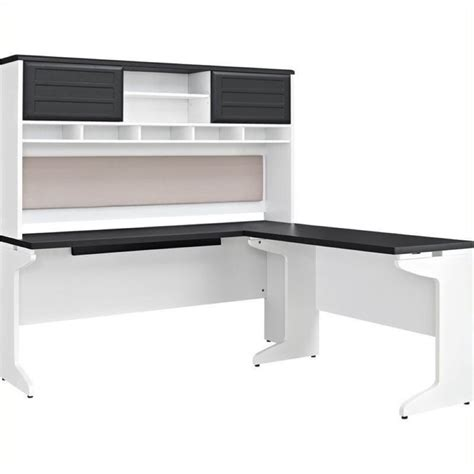 Gray L Shaped by Bowery Hill L Shaped Desk With Hutch In White And Gray