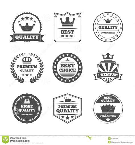 Quality Brands by Crown Labels Icon Set Stock Vector Image 43565308