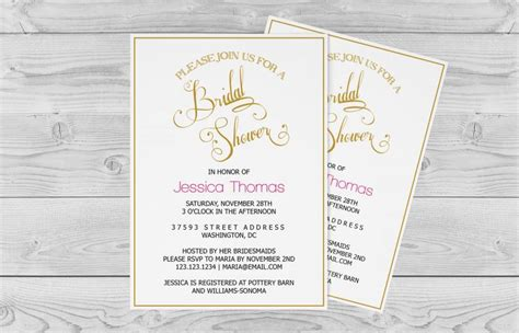 bridal shower invitation template golden calligraphy