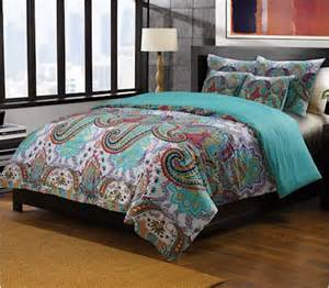 Oriental paisley red turquoise blue bedding twin full queen king quilt