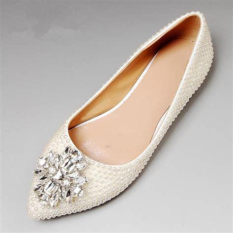 wedding dress flat shoes pearl wedding shoes flat heel