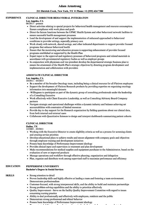 Director Resume by Clinical Director Resume Sles Velvet