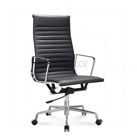 eames office chair high back black leather modecor