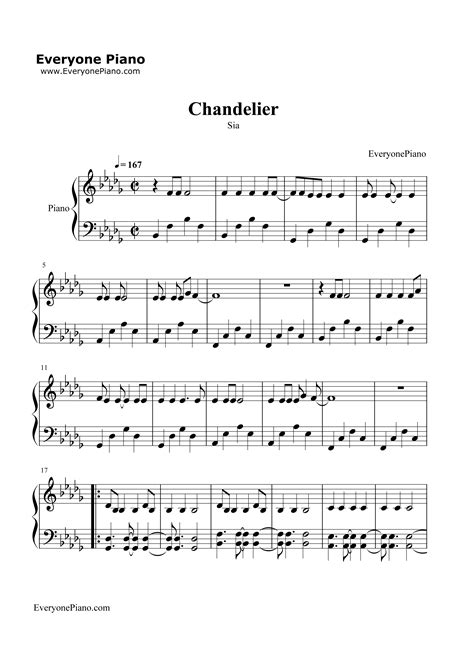 Sia Chandelier Chords Chandelier Sia Stave Preview 1 Free Piano Sheet Piano Chords