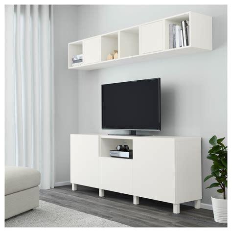 besta und eket eket best 197 cabinet combination for tv white 210x40x220 cm