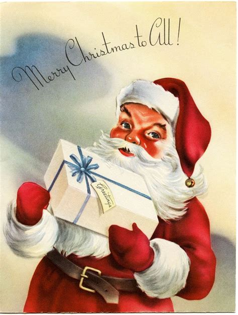 vintage santa greeting card  graphics vintage christmas cards vintage christmas