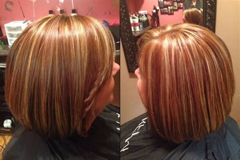 inverted bob and blonde or brunette highlight and lowlights three colors copper brunette and