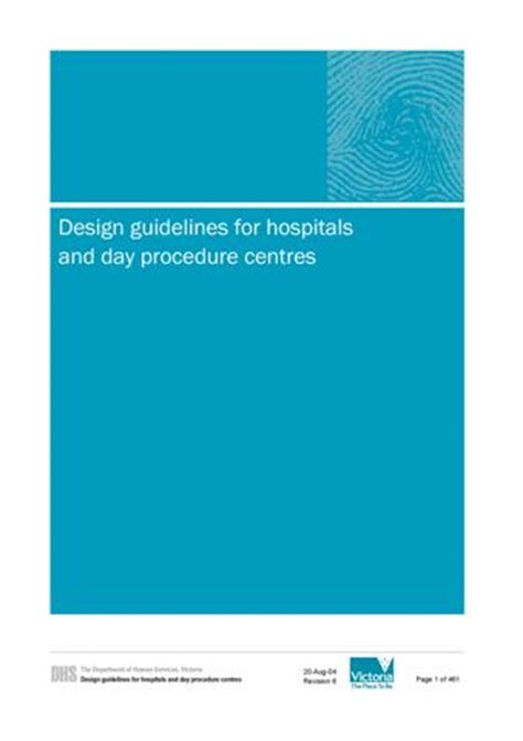 design guidelines hospitals day procedure centres links www healthdesign com au