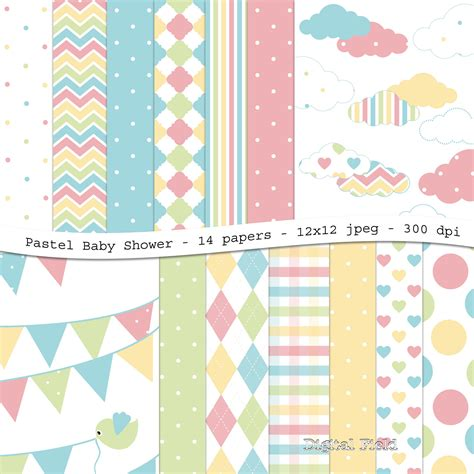 Baby Shower Paper by Pastel Baby Shower Digital Scrapbooking Paper Pack 14