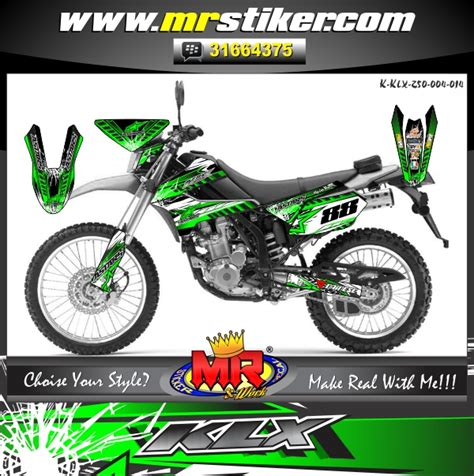 Decal Klx 150 018 250 silver racing fighter stiker motor striping
