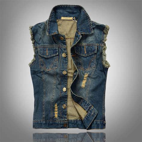 Jeand Washed Vest Fit L 2016 new fashion mens denim vest vintage sleeveless washed waistcoat cowboy ripped