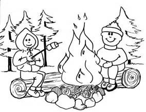 kids camping colouring pages