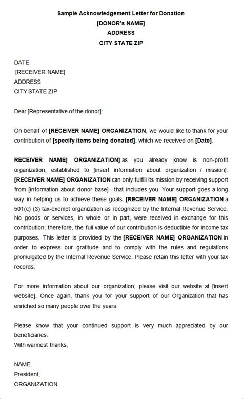 Acknowledgement Letter For In Donation 31 Acknowledgement Letter Templates Free Sles Exles Format Free Premium