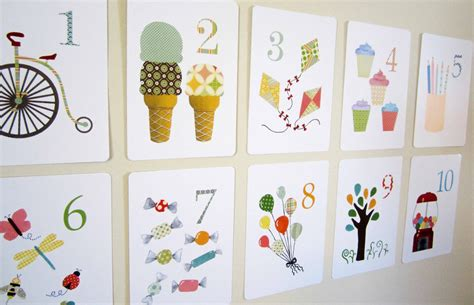 wall cards number nursery print wall flash cards by