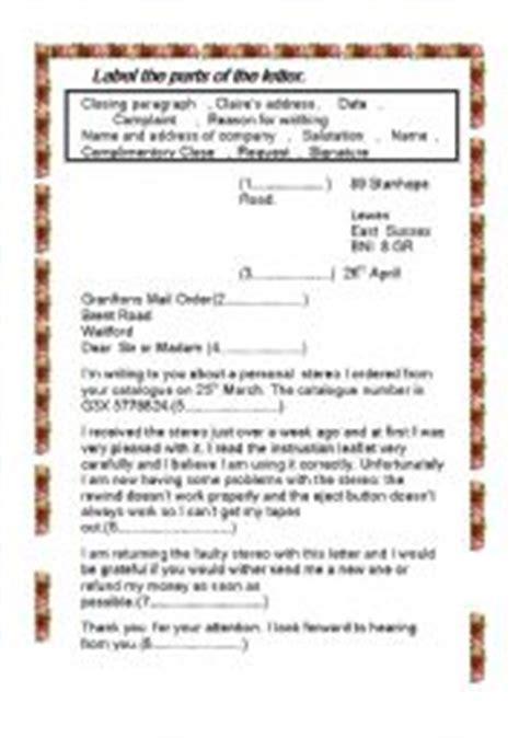 Complaint Letter Parts Worksheet Complaint Letter