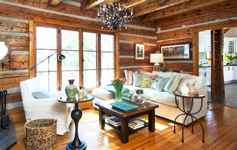 Rustic Cottage Living Room by Log Cottage Living Room Rustic Toronto By Fig Interiors
