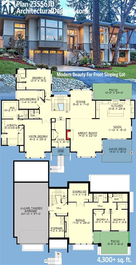 new house floor plans plan 23556jd modern for front sloping lot modern house plans outdoor living areas and