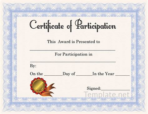 template for certificate of participation in workshop free certificate template 65 adobe illustrator