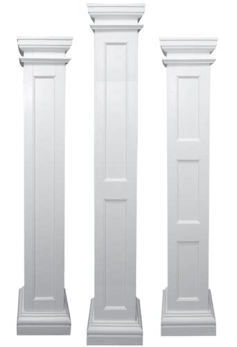 White Wainscoting With Wood Trim Square Recessed Paneled Load Bearing Fiberglass Columns