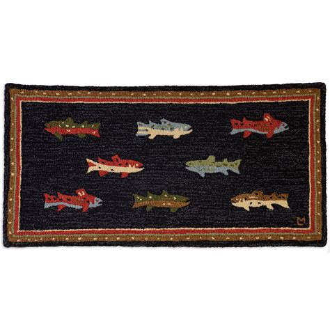 river fish hooked wool accent rug