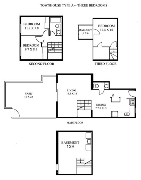 stacked townhouse floor plans stacked townhouse floor plans 171 home plans home design