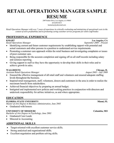 sle resume business operations manager