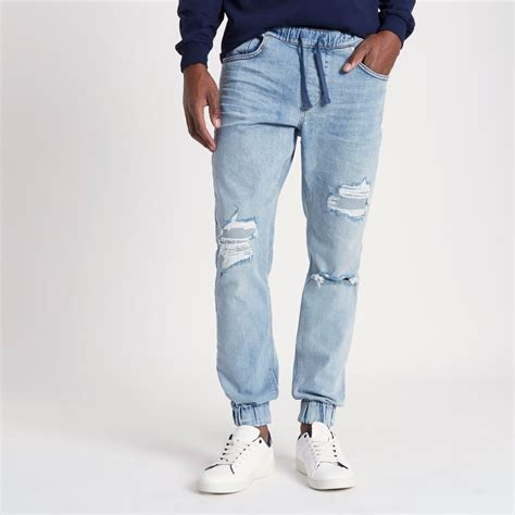 Joger Ripped light blue ripped jogger joggers