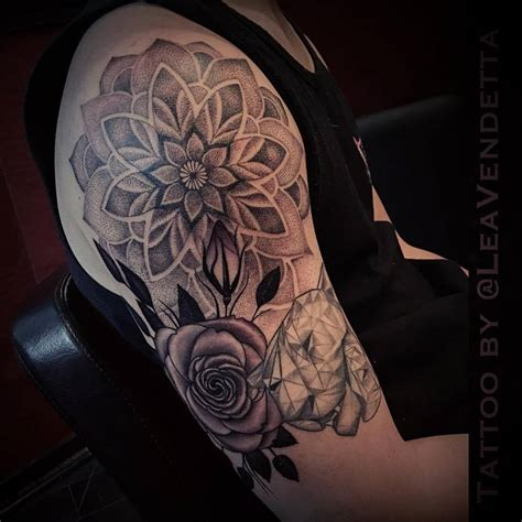 half open rose tattoo mandala flower on shoulder flowers healthy