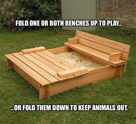bench sandbox covered sandbox with fold out benches learning at home pinterest