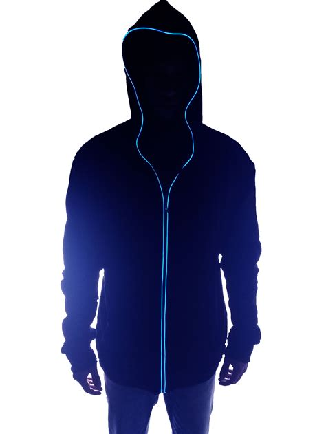 Hoodie Jaket Sweater Greenlight el glow in the light up blue hoodie jacket