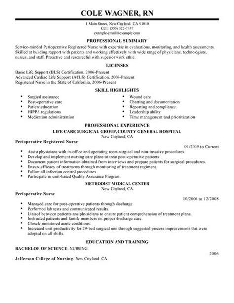 Perioperative nurse resume examples healthcare resume examples