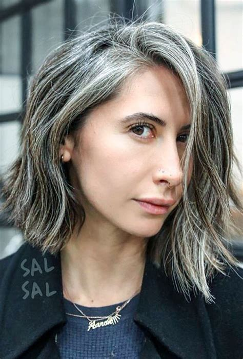 Gray Streak In Hair | lob hair haircut blunt beautiful gray hair streaks