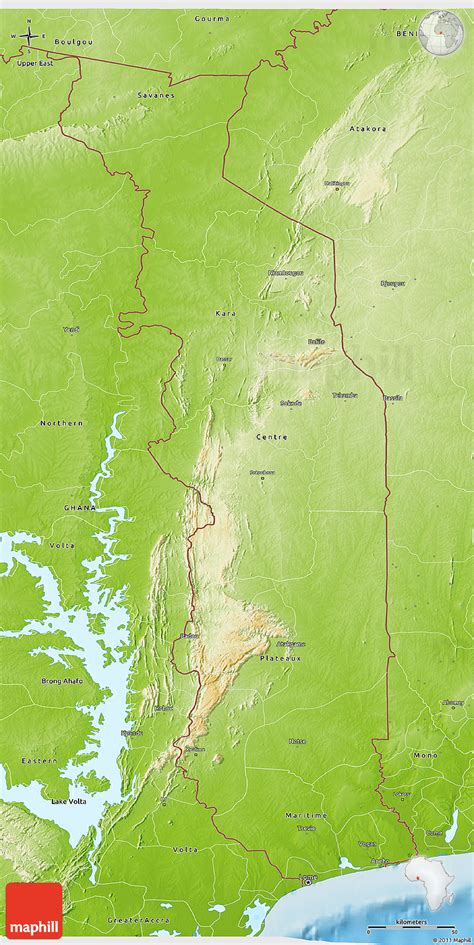 physical map of togo physical 3d map of togo