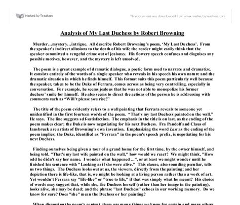 My Last Duchess Essay by Analysis Of My Last Duchess By Robert Browning Gcse Marked By Teachers