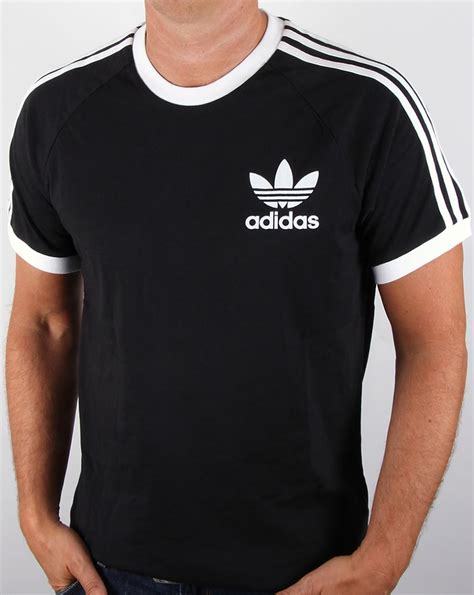 Adidas Tsirt adidas originals retro 3 stripes t shirt black california