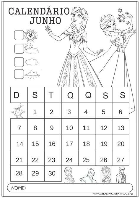 Calendario Junho 2015 Calend 225 Junho 2015 Frozen Educa 231 227 O Infantil Para