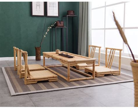 Japanese Style Living Room Furniture Crafted Modern Rattan Bamboo Furniture Floor Table Japanese Style Tatami Coffee Tea Living