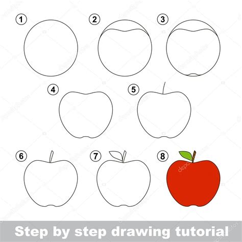 how to make doodle tutorial tekening tutorial hoe teken je een appel stockvector
