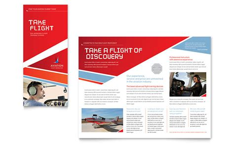 aviation flight instructor brochure template design