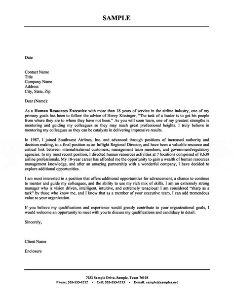 cover letter to hr human resources executive cover letter